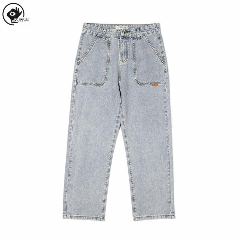 Streetwear Pluie Solid Harajuku Pants jambes Hommes Denim Vêtements Bleu Petit Jeans Vintage Qualité Vintage 2020 Pantalons droits Fashion Uuqsf