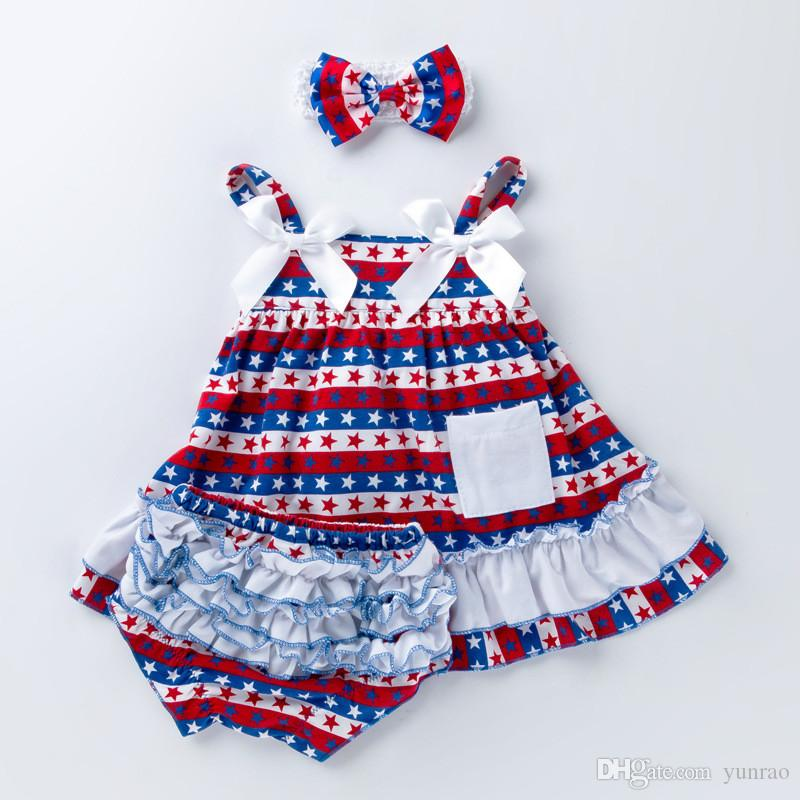 4th July 3PCS Newborn Baby Girls Clothes Dress Headband Bloomers Girls TUTU underwear Panties Toddler Outfit Halloween Christmas