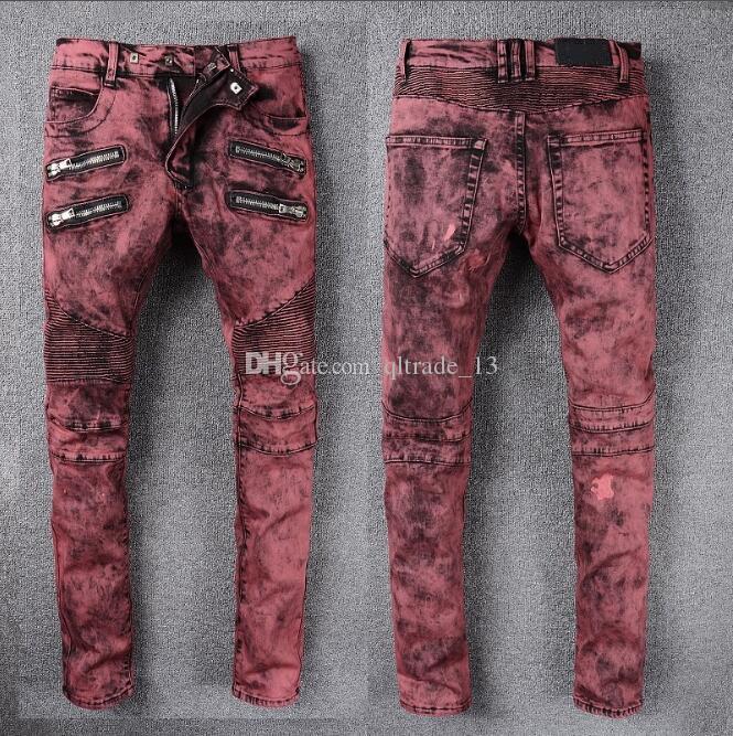 Vinho tinto Slim-fit stretch jeans de algodão denim Dois bolsos com zíper estilo americano skinny Magro demin calças compridas hip hop demin Jeans