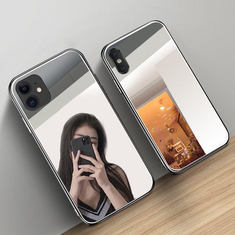 Maquillaje de lujo caja del teléfono del espejo para el iPhone 11 Pro XS Max X XR duro de vidrio templado para el iPhone 8 7 6 6S Plus Capa Coque