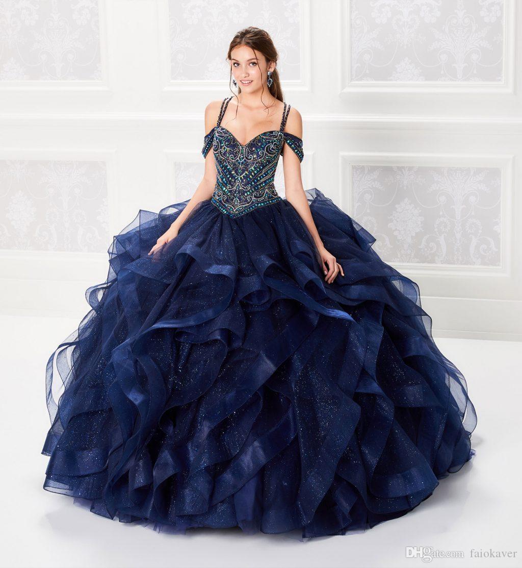 2019 Ball Gown Dark Navy Quinceanera Abiti corsetto in rilievo Corsetto Crystal Prom Dress Gonne a strati Splendida Glitter Princess Abiti Lace-up