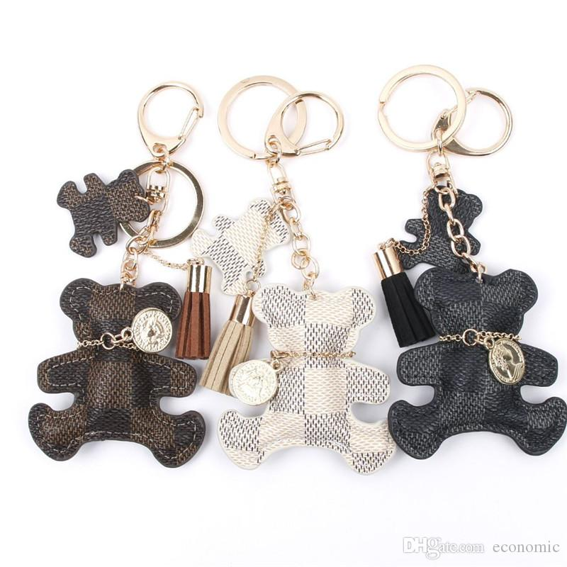 PU جلد الدب مفتاح سلسلة الشرابة حلقة رئيسية سلسلة المفاتيح سيارة حقيبة للنساء مجوهرات اكسسوارات هدية 12PCS