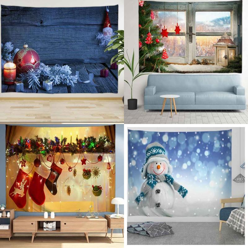 121 Noel Goblen Noel Duvar TV Arkaplan Asma Mats Merry Christmas Polyester Koltuk Kapak Noel Desen Piknik Battaniye Tasarımları