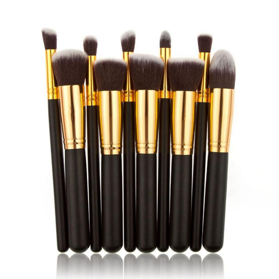 10pcs set di pennelli per trucco cosmetico per fondotinta in polvere ombretto eyeliner labbra evidenziatore strumenti per pennelli cosmetici RRA1932