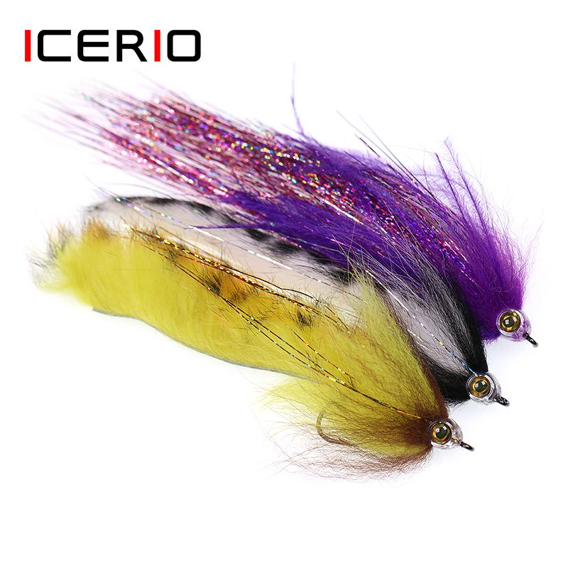 Sports & Entertainment ICERIO 1Piece Fish Skull Rainbow Zonker Streamers Saltwater Flies Trout Bass Fishing Fly Lure Baits 2/0