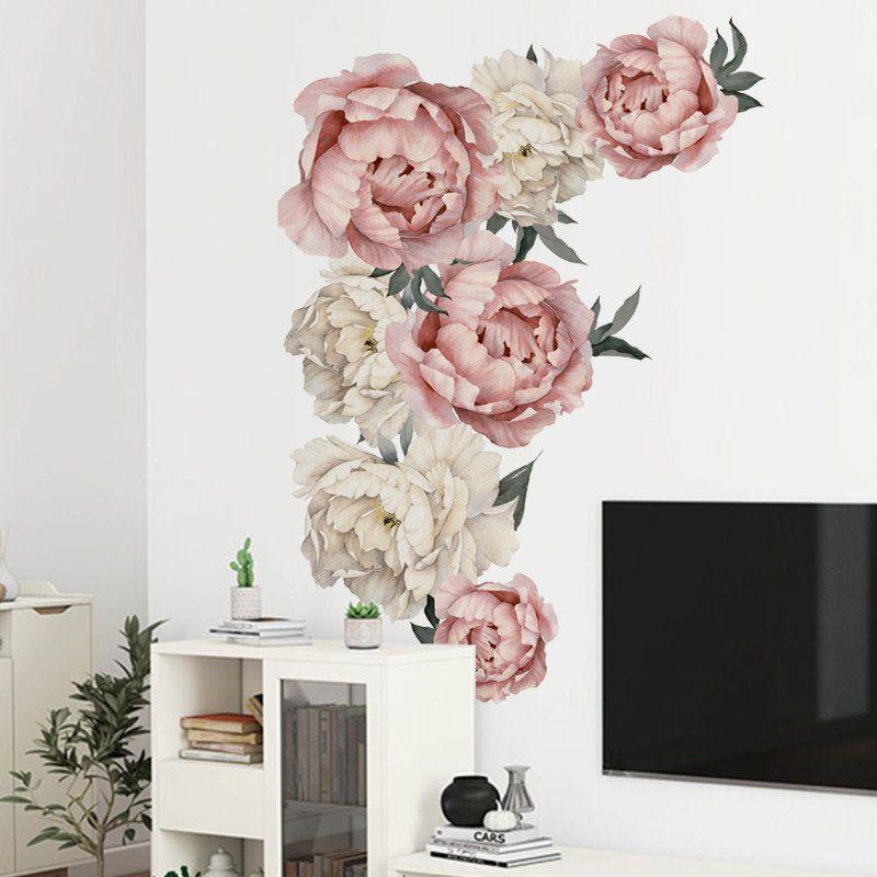 벽 스티커 모란 꽃 벽 문신 예술 데칼 홈 장식 거실 침대 DIY 홈 장식