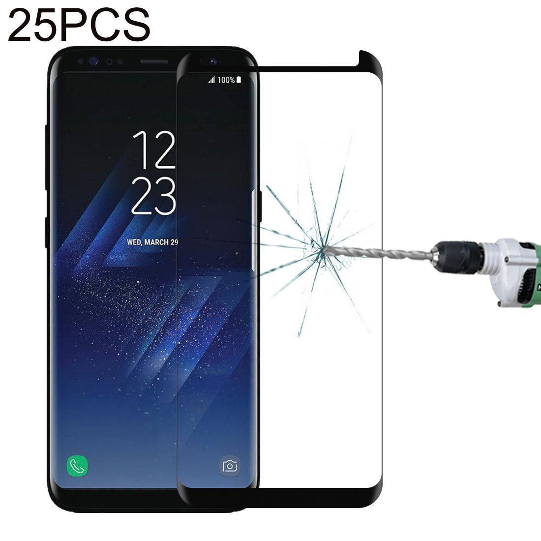 25 PCS pour Galaxy S8 Plus / G955 0.26mm 9H Surface dureté Antidéflagrant 3D non-plein bord colle écran incurvé Cas amical en verre trempé