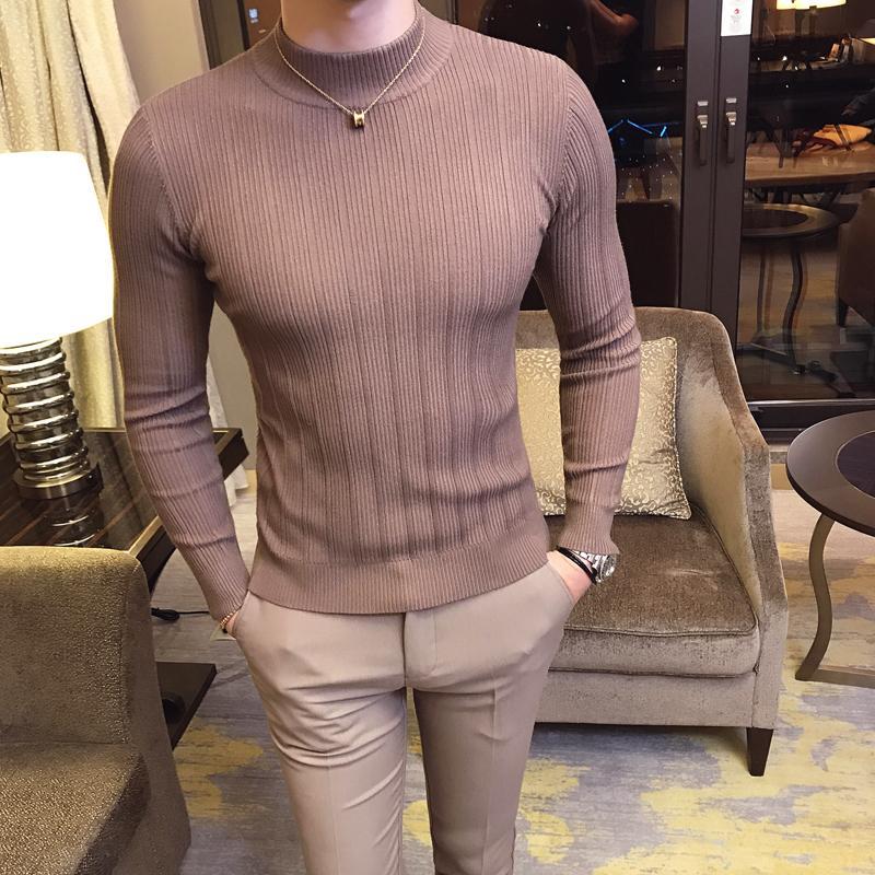 2019 Automne et Hiver Nouveau Mode Hommes Boutique Coton Solide Couleur British Gentleman pull en tricot / Homme Capuche Pull T200402 Casual