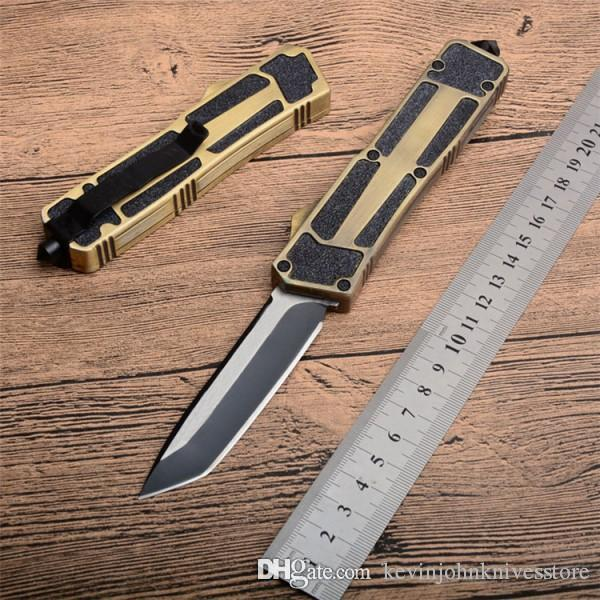 Scarab 3 models gold double edge dual action fishing self defense automatic Hunting Pocket Knife camping Knife Xmas gift for men C36 C81