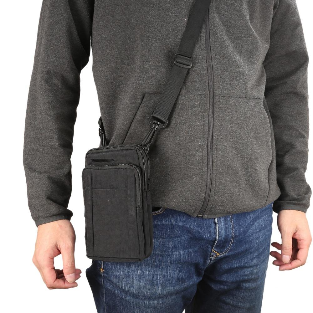 Étanche Pack Nylon Taille Hommes Téléphone Cas Sac Casual Mode Multifonction Suspendu Cou Portefeuille Poche pour Lenovo k6 note a2010