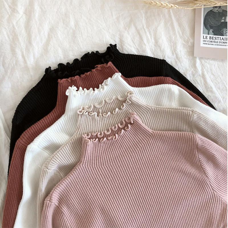 shintimes Frauen Pullover dünne reizvolle gestrickte Pullover mit Stehkragen mit Rüschen besetzte hohe elastische Fest 2019 Herbst Winter Mode Pullover Frauen Pullover Y200116