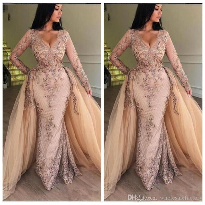 2020 New V Neck Lace Mermaid Prom Dresses Long Sleeves Tulle Applique Floor Length Formal Party Evening Dresses With Detachable Skirt bc0179