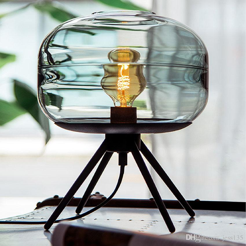 Modern American glass table lamp creative bedroom bedside brown blue gray glass shade lamp iron bracket reading desk