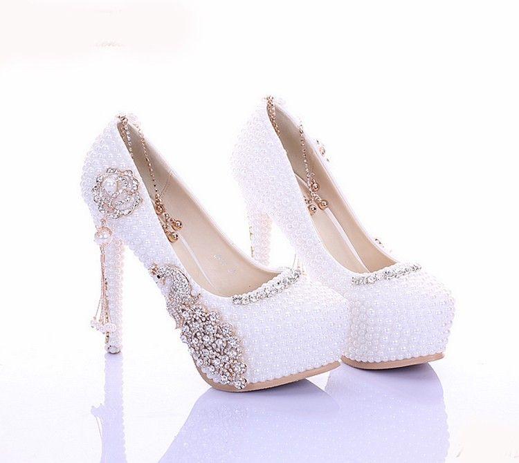 2019 Popular White Pearl Diamond Nupcial Sapatos de Casamento Sapatos De Strass para As Mulheres Da Senhora de Alta Sapatos de Salto Alto de Cristal Sapatos de Bombas