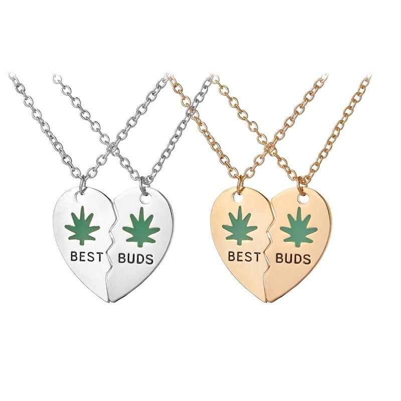 Émail vert meilleurs bourgeons colliers pour les femmes Filles 2 Coeur Collier Brochage meilleur ami Collier amitié Bijoux cadeau