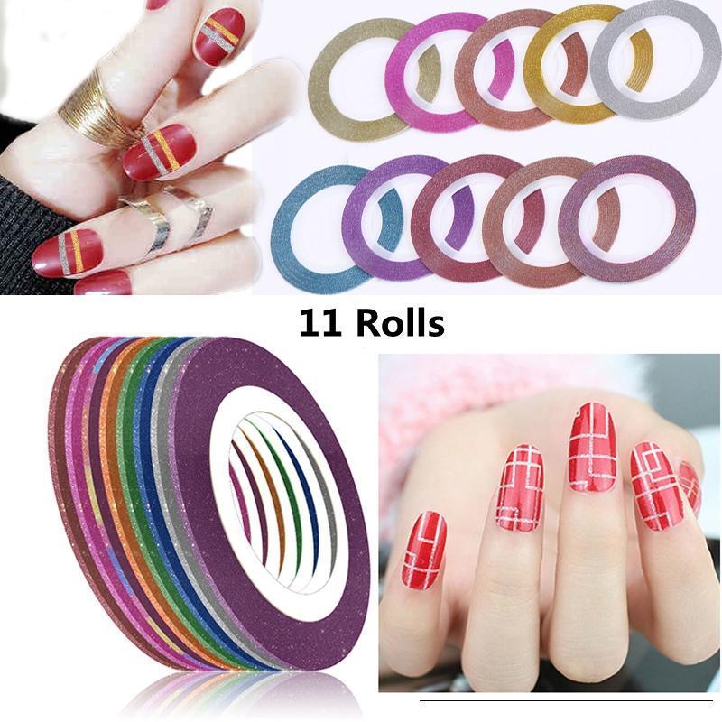11 Rolls Nail Art Блеск Золото Серебро Красный обнажая ленты Линия для ногтей наклейки DIY аксессуары Матовый наклейки Nail Art Decoration