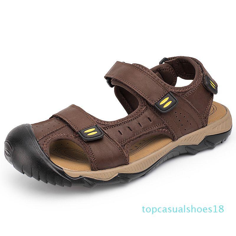 Sandálias De Playa Sandals New Couro Anti Slip Toe Closed Tamanho Grande Sandalias Sandles Mens Sandalia t18