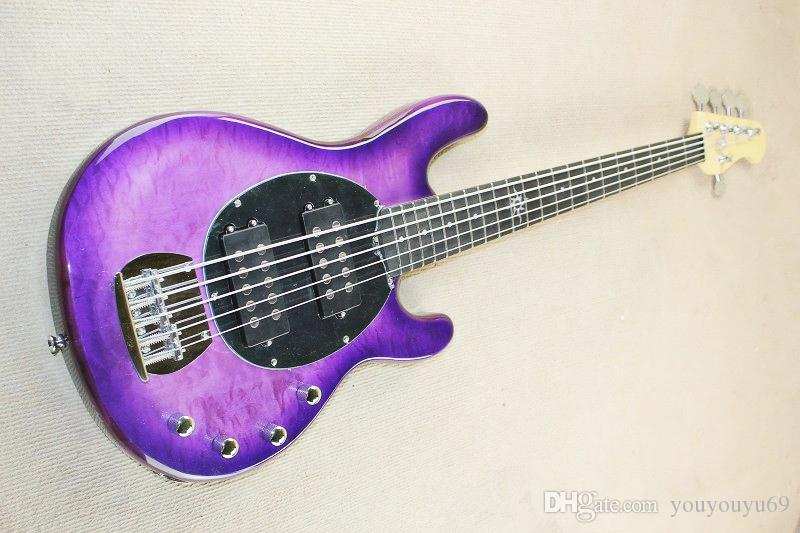 5-string purple electric bass guitar with active circuit, ebony fingerboard, maple leaf cloud, providing high quality personalized customiza