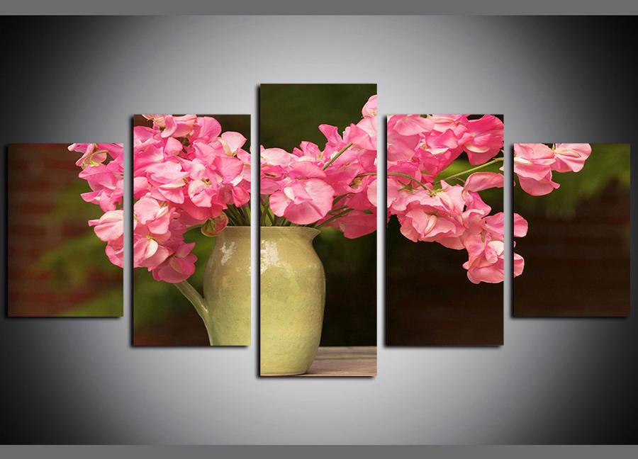 FLORAL PAINTING CANVAS PRINT RED PINK BLOSSOM framed A2