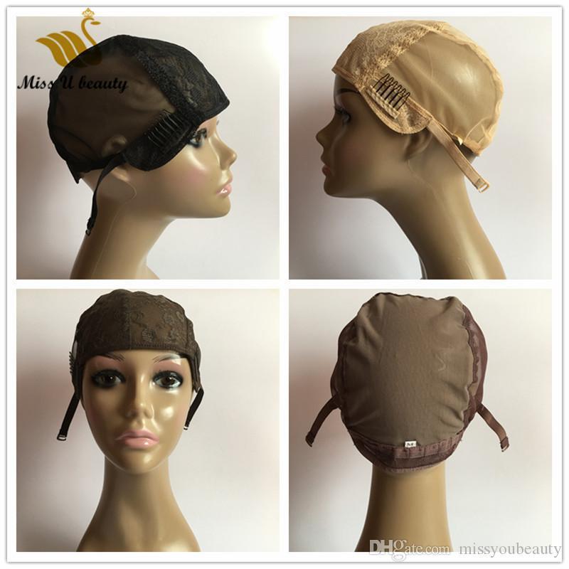 Lace Wig Cap für die Herstellung der Perücken volle Spitze-Spitze-handgemachter Haar-Perücken Schwarz Blond Braun Perücke Caps mit Clips verstellbaren Trägern