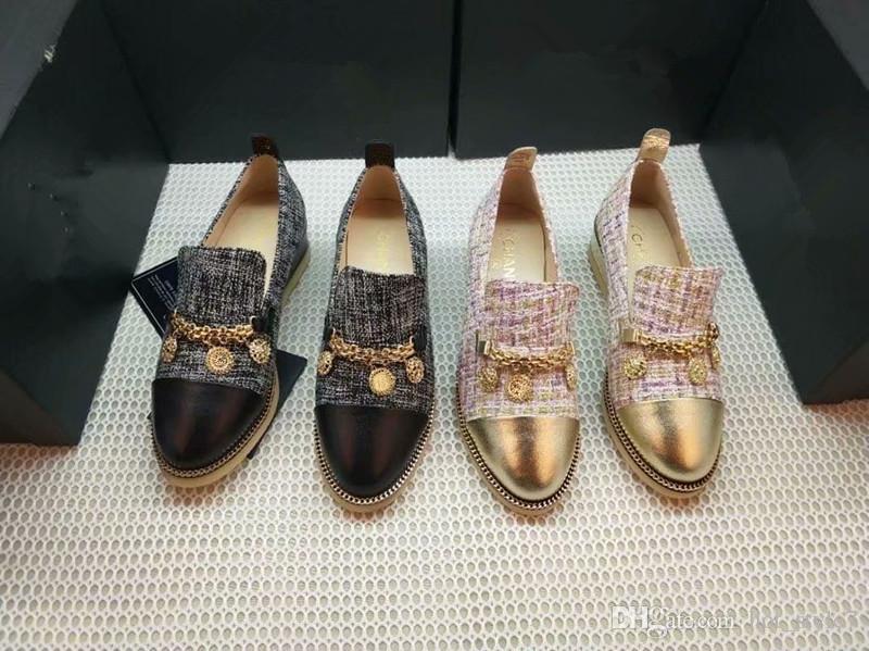 New Gold Collier avec pendentif en métal de décoration Wedge talon plat Chaussures Casual classique Personnalité Petit Round Head Color Matching Chaussures simples