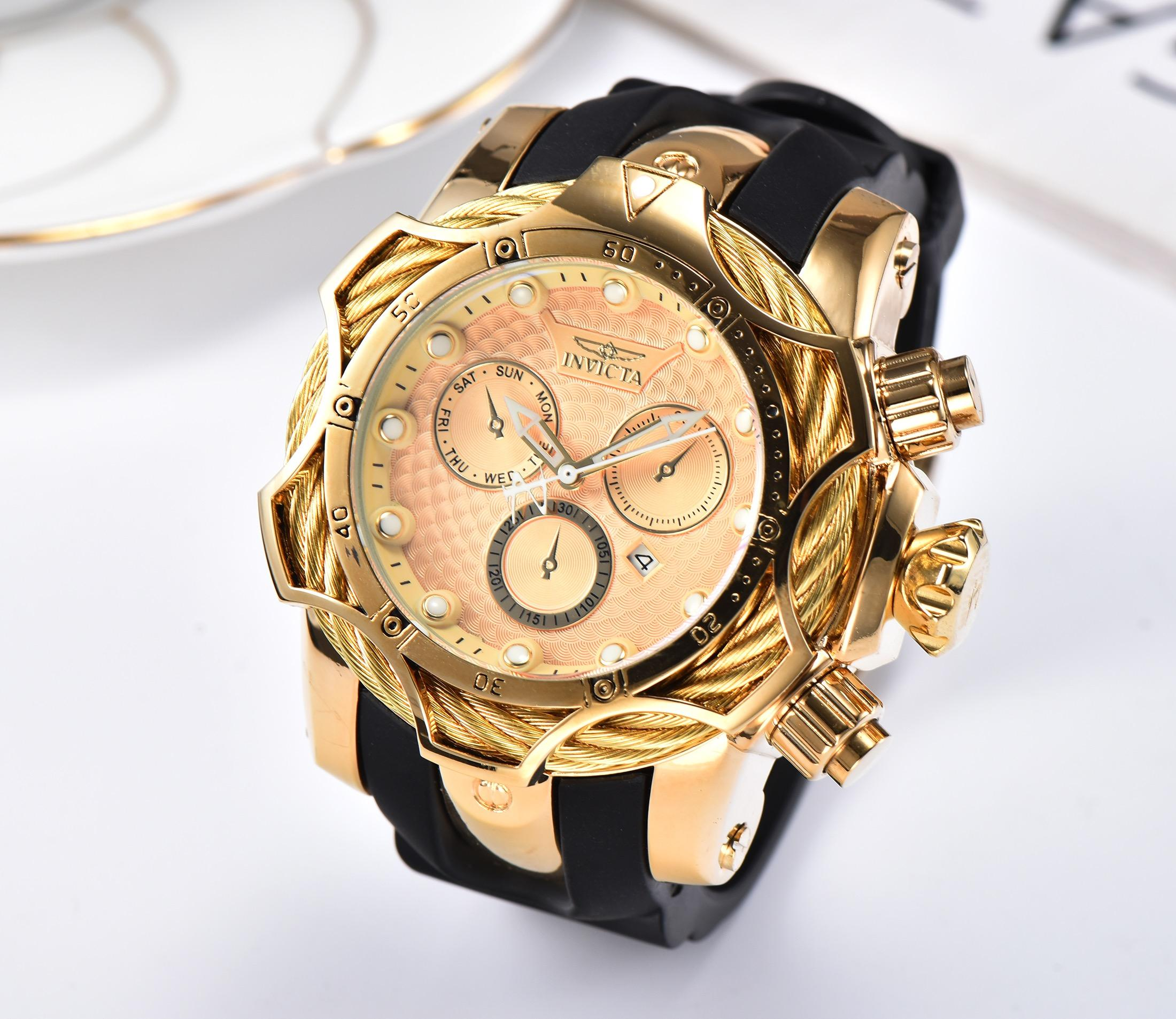 19 INVICTA Orologio di lusso in oro Tutti i quadranti secondari funzionanti Uomo Sport Orologi al quarzo Cronografo Data automatica elastico Orologio da polso per regalo maschile 3C
