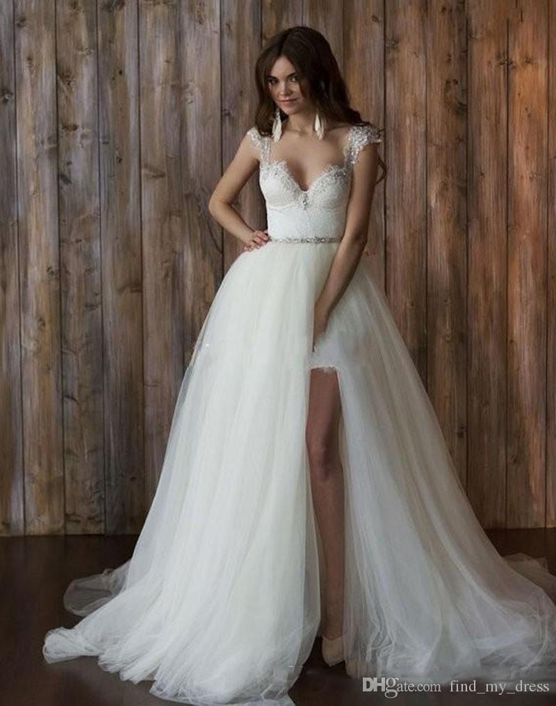 2020 Nouveau court de dentelle Robes de mariée avec jupe amovible mancherons balayage train Backless plage Robes de mariée Personnaliser
