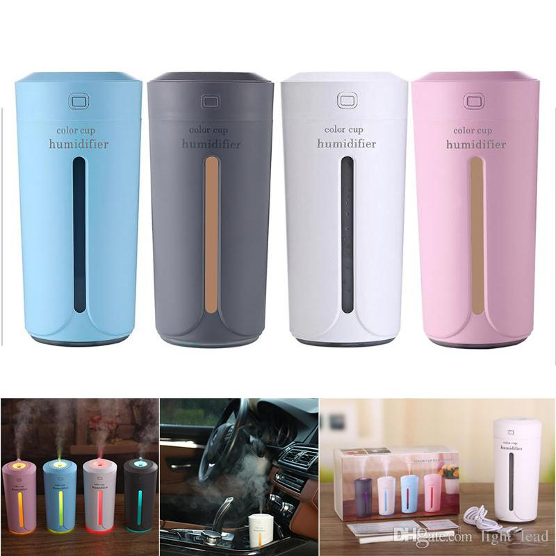 Humidificateur d'air ultrasonique de 230 ml Diffuseur d'huile essentielle USB 7 couleur LED lumières de l'humidificateur d'aromathérapie Diffuseur Aroma