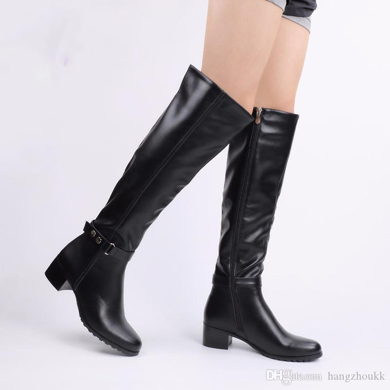 Winter Warm Fur Knee Heels Boots Women