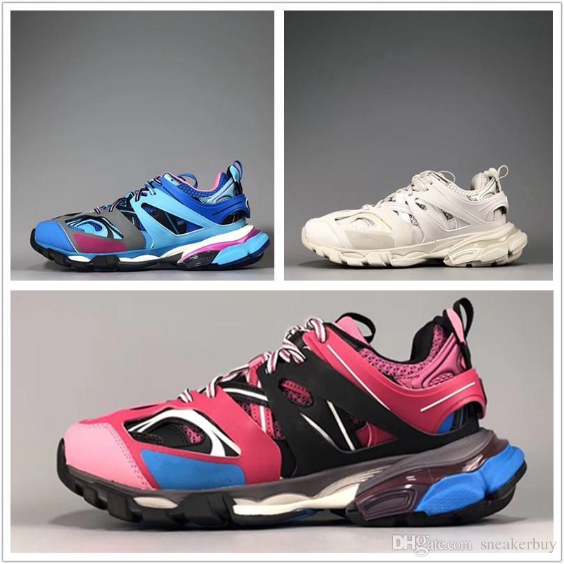 Triplo s 3.0 nuovo colore rosa blu bianco tess s uomini donne clunky sneaker scarpe casual moda moda pattino con sacchetto di polvere