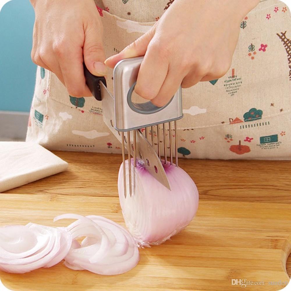 Easy Onion Holder Slicer Gemüsewerkzeuge Tomatenschneider Edelstahl Küchenhelfer Keine stinkenden Hände mehr