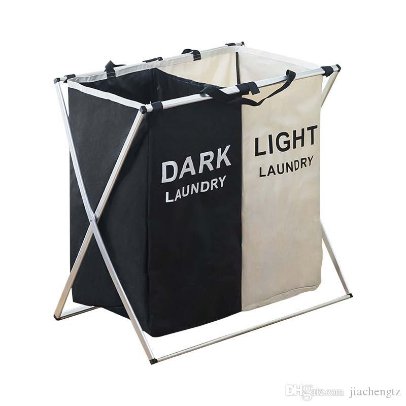 Laundry Basket Two/Three Grids Dirty Clothes Storage Basket Organizer Bags Collapsible Waterproof Folding Large Laundry Hamper
