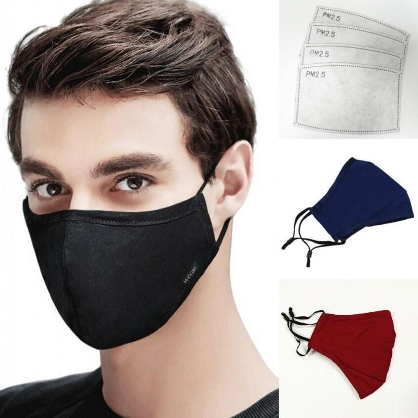 Designer Washable Reusable Face Mask Anti Dust Cotton Mouth Masks With Pm2.5 Carbon Filters Pocket Adjustable Earloop Cloth Masks FY9049