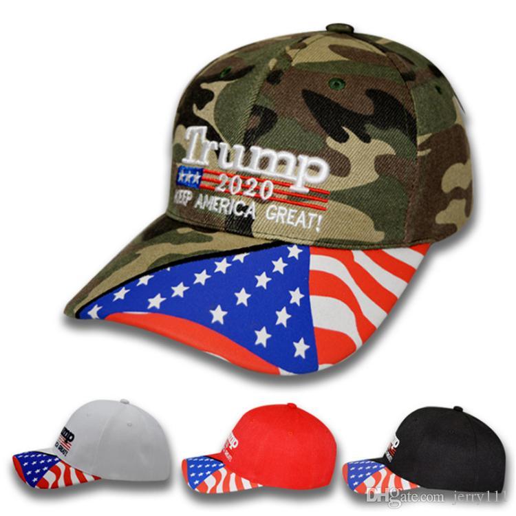 Donald Trump cap baseball EUA Camuflagem Cap da estrela da bandeira Mantenha América Grande 2020 chapéu 3D Letter bordado ajustável Cap Golf DHL JY544