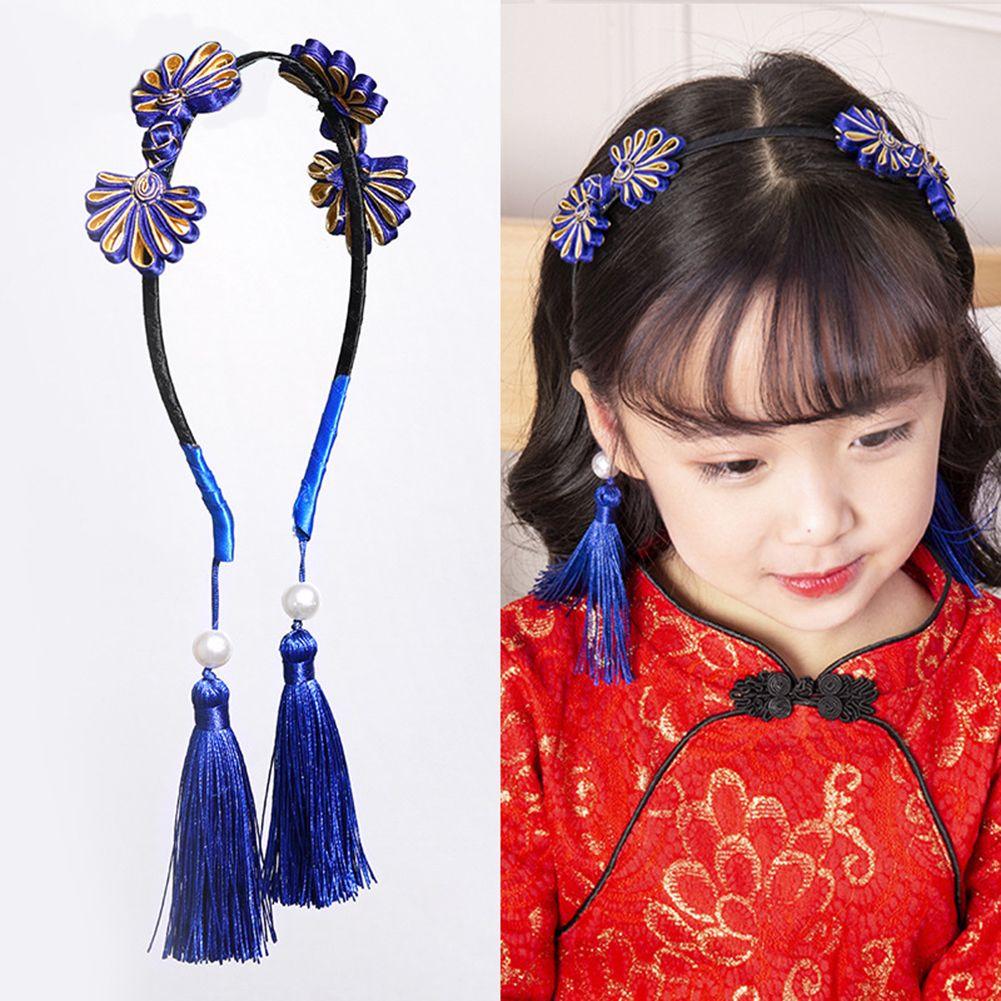 Traditional New Year Chinese Tassels Fake Earrings Kids Girls Headband Hair Accessory Fake Earrings Girl Headband Accessory