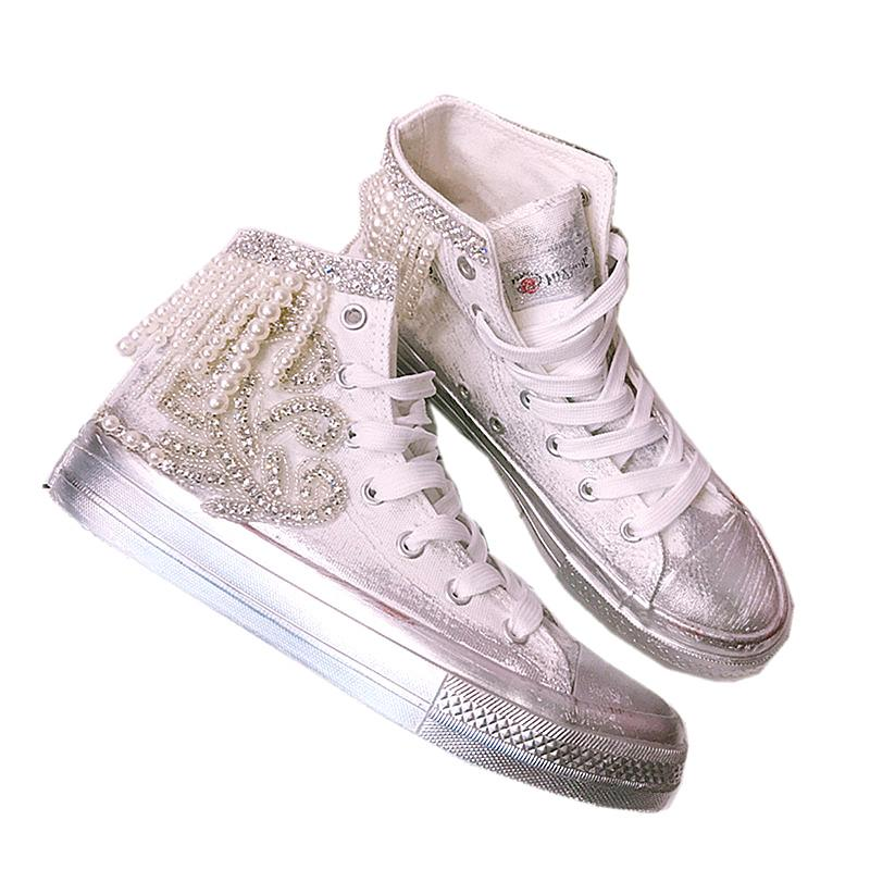 Scarpe Da Ginnastica Per Sposa.Acquista Downton Handmade Crystals Pearls Scarpe Da Sposa Sneakers