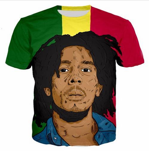 Mais novo Novidade Streetwear Homens Mulher Estilo Verão Bob Marley Engraçado 3d Impressão Casual O-pescoço T-Shirt Tops Plus Size WR0239