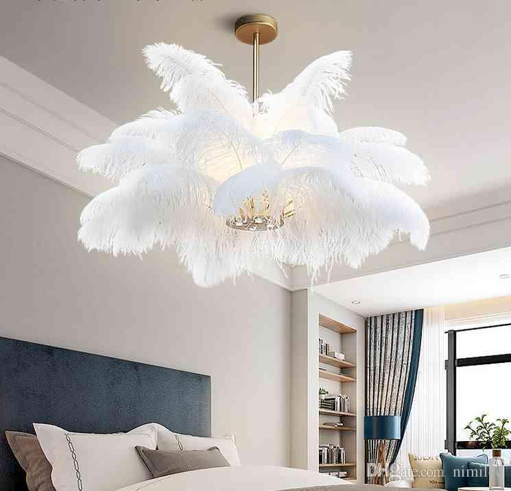 Nordic Ld Pendant Lights Natural Ostrich Feather Loft Led Pendant