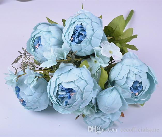 DIY 47см Искусственные цветы Шелковый цветок пиона Heads Свадебные украшения партии Supplies Simulation Поддельный цветок голову украшения для дома