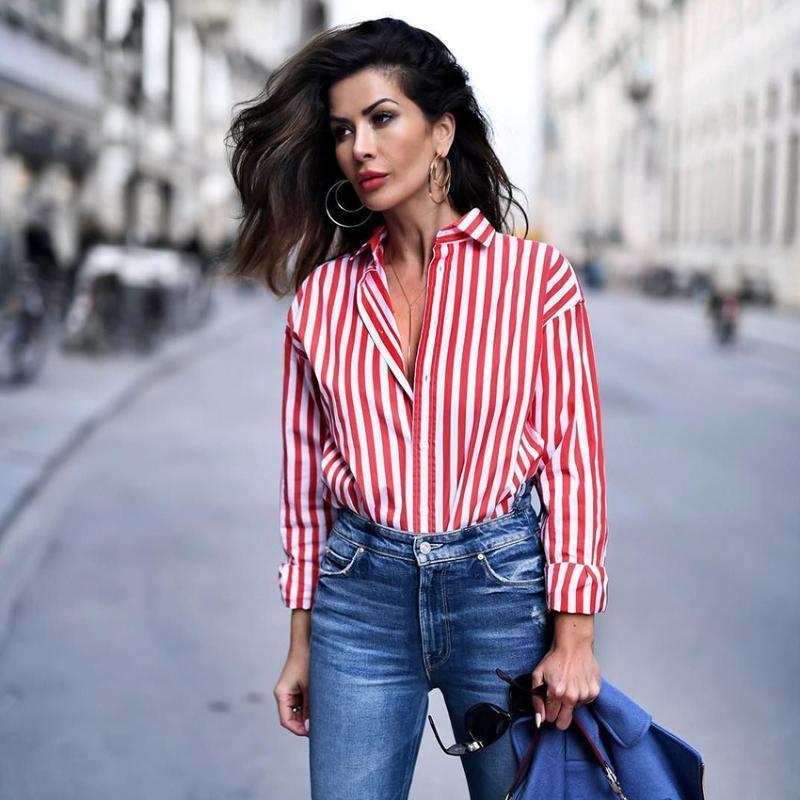 Camisas de nuevo rayado rojo de la blusa Mujeres Blusas suelta Slim Fit de manga larga de las mujeres de moda más importantes todas correspondan para las mujeres de las blusas