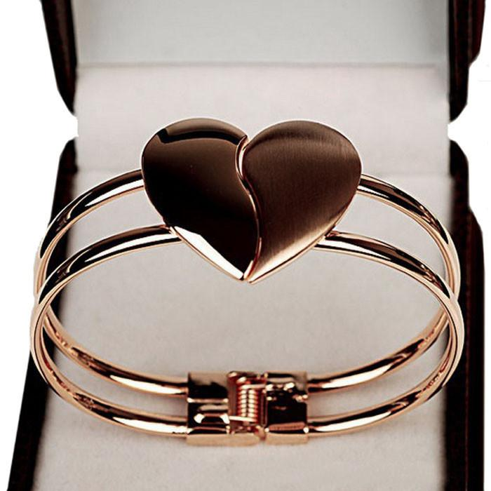 Flawless New Fashion Lady Elegant Heart Bangle Wristband Bracelet Cuff Bling Gift Jewelries Fantasy Bracelets Fine Pendientes