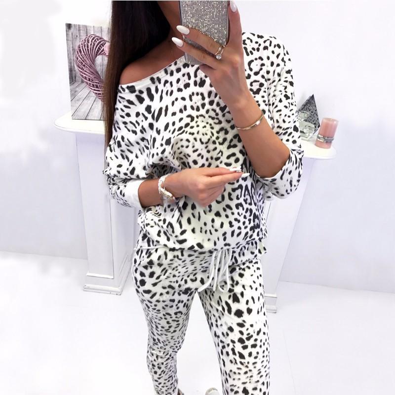 BEFORW Sonbahar Kış Moda İki Adet Set Uzun Kollu + kamuflaj Pantolon Kadınlar Giyim 2018 Leopard Baskı 2 Adet Setleri Tops