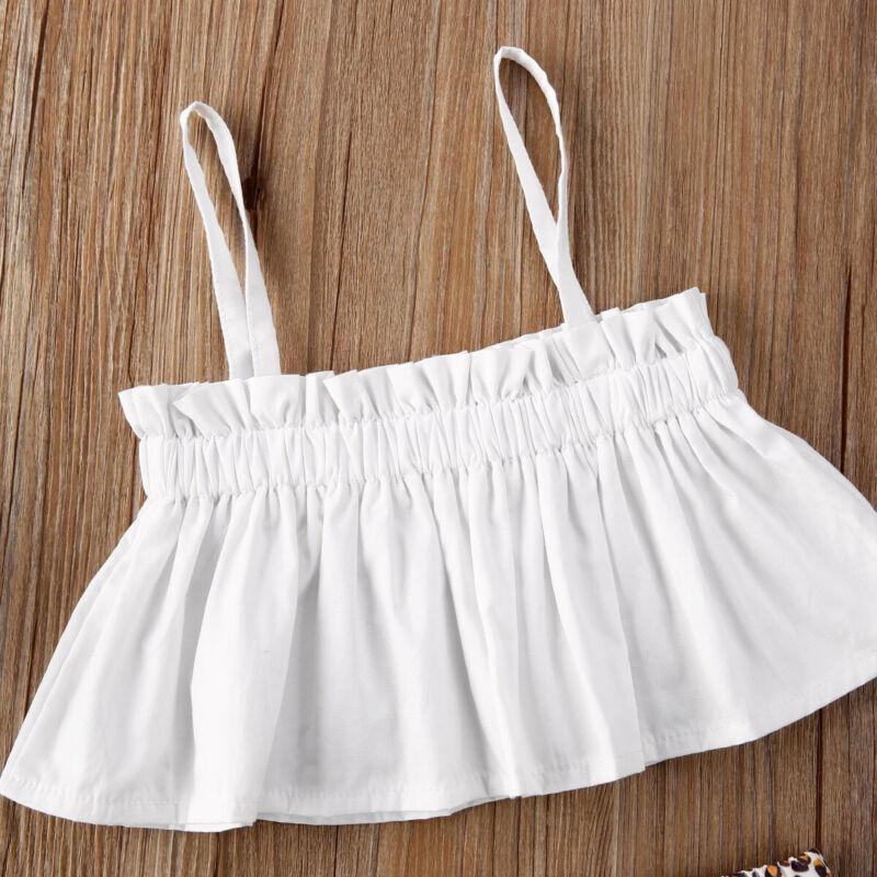 Yeni doğan kız bebek iki parçalı set giysiler kolsuz üst leopar kısa saç bandı bebek bebek giyim setleri