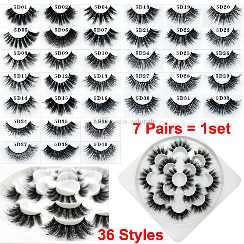 Makyaj Yanlış Kirpikler 7 Pairs 3D Vizon Kirpikler Zararsız Hacimli Sahte Vizon Şerit kirpik Dramatik Göz lashes Doğal Yumuşak 36 Stilleri