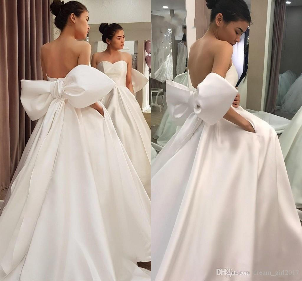 Noble White Simple Designed Satin Wedding Dresses Big Bow Sash A Line Backless Sweetheart Western Bridal Gowns