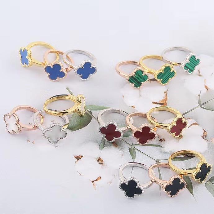 2020 gioielli fascino di fidanzamento anelli all'ingrosso anello del fiore di modo anello nuziale gioielli in acciaio inossidabile nero bianco delle donne anelli rossi verdi