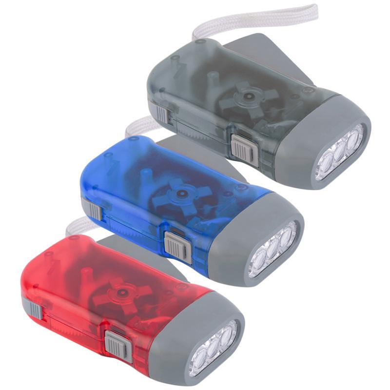 1 pcs 3 LED Mão Pressionando Dynamo Crank Power Wind Up Lanterna Tocha Luz Manivela de Imprensa Acampamento Lâmpada de Luz Venda Quente