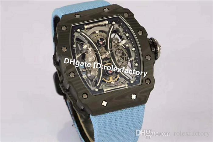 Luxury 53-01 Mans Watch Carbon Fiber Case Suspended hollow Automatic Movement Skeleton Dial Canvas Strap Shock-resistant Scratchproof Watch