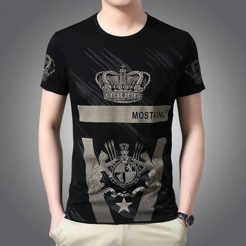 Designer shirt girocollo Mens stampato allentato compassionevole che basa il ghiaccio mezzo di seta a maniche Tee Mens vestiti di estate European Fashion