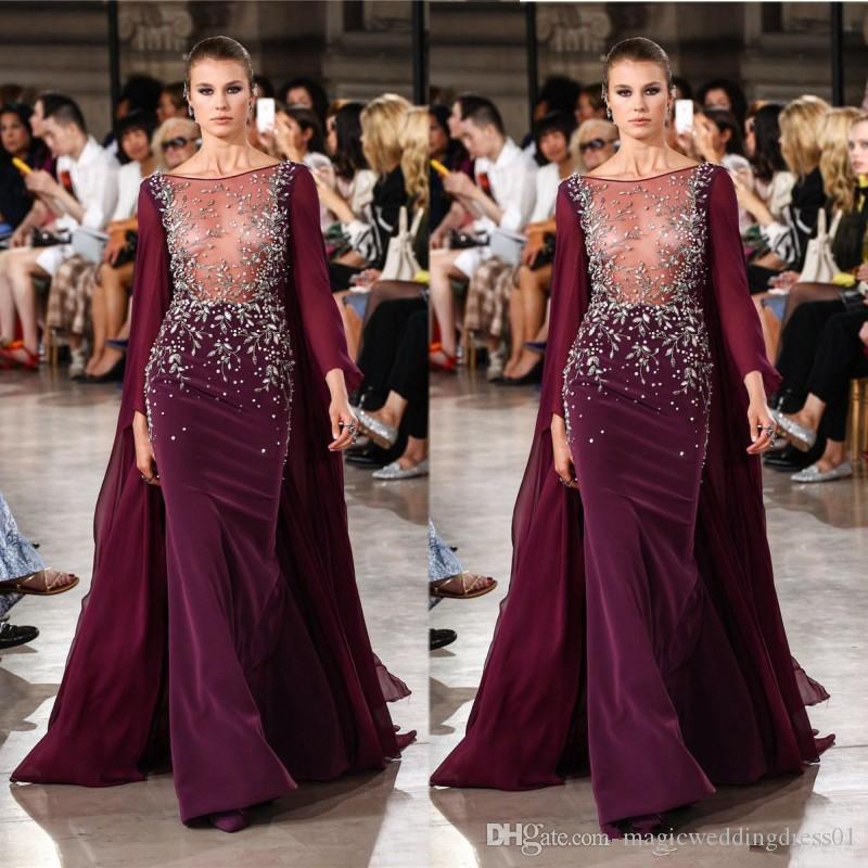 Elegant Georges Hobeika Dresses Evening Wear Rhinestones Sheer Bateau Neck Beaded Mermaid Long Sleeves Evening Gowns Sequined Formal Dress